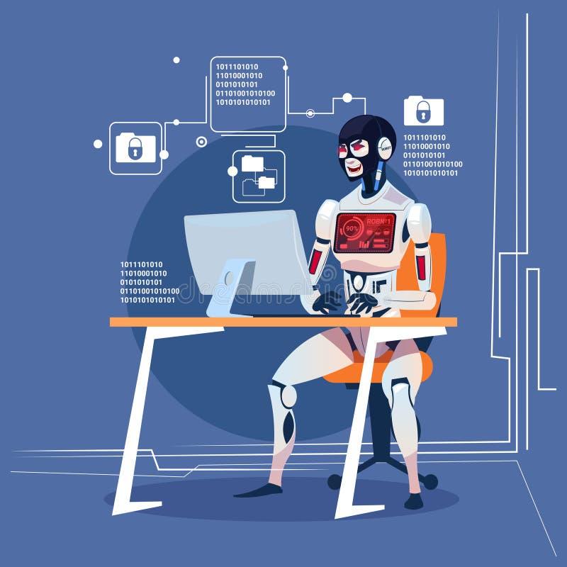 Concetto futuristico di tecnologia di intelligenza artificiale del robot di computer di attacco moderno del pirata informatico illustrazione di stock
