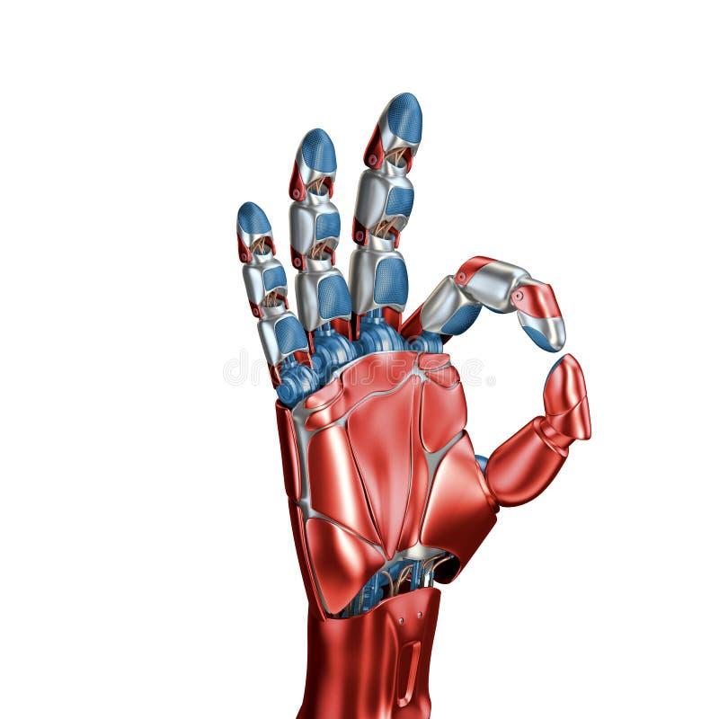 Concetto futuristico di un cromo robot della metallina del braccio meccanico colore Rosso-blu Modello isolato su fondo bianco fotografia stock