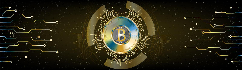 Concetto futuristico dorato di Bitcoin Fondo cosmico w dello spazio di HUD royalty illustrazione gratis