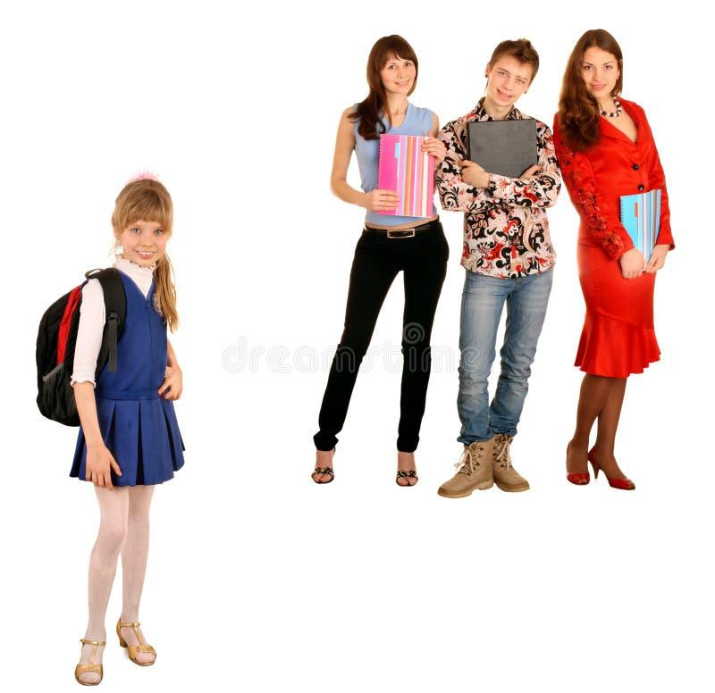 Concetto. Generazione due: allievo e scolaro. fotografie stock libere da diritti