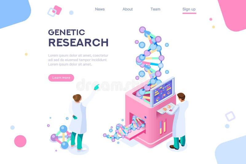 Concetto genetico di biotecnologia del genoma di ricerca illustrazione di stock
