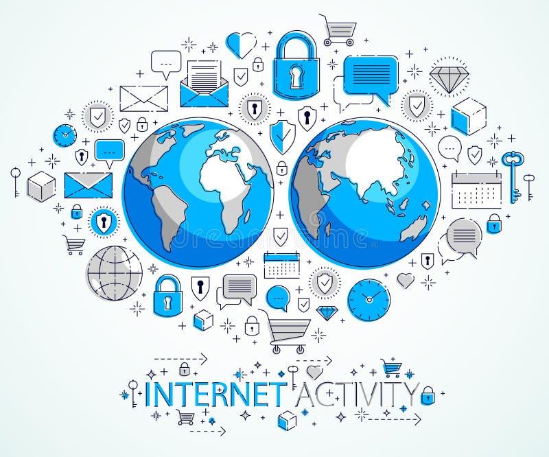 Concetto globale del collegamento a Internet, pianeta Terra con differenti icone insieme, attivit? di Internet, grandi dati, comu royalty illustrazione gratis