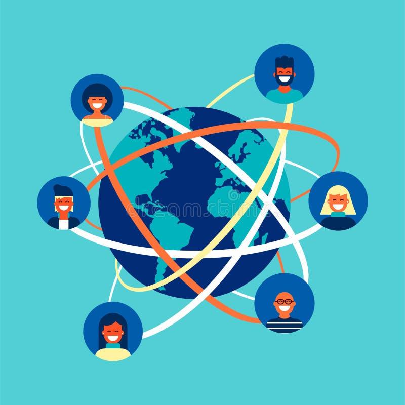 Concetto globale del gruppo della gente della rete sociale di Internet illustrazione di stock