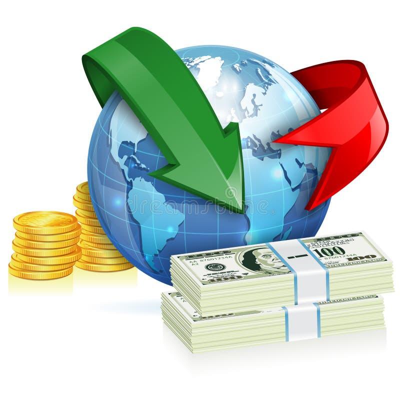 Concetto globale del trasferimento di denaro illustrazione vettoriale