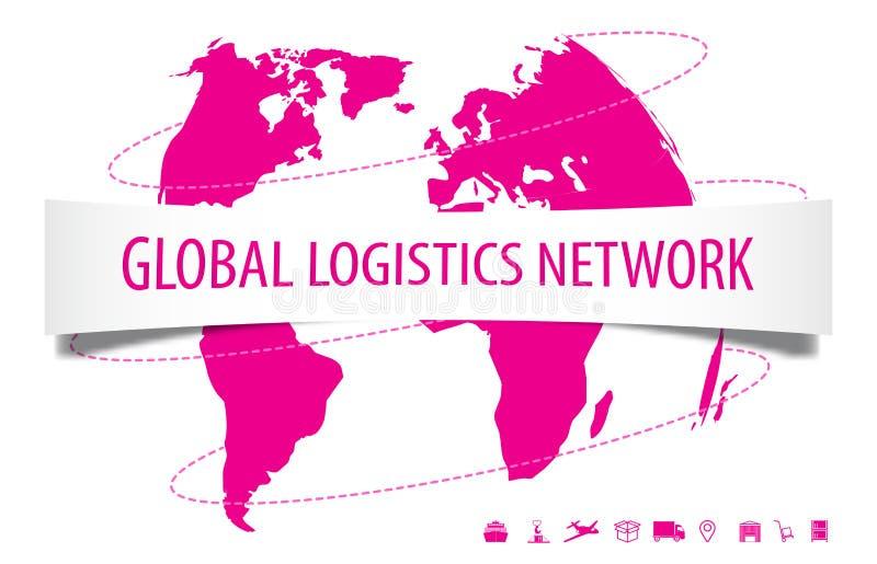 Concetto globale della rete di logistica Le icone della mappa e di logistica di mondo hanno messo sul rosa illustrazione vettoriale