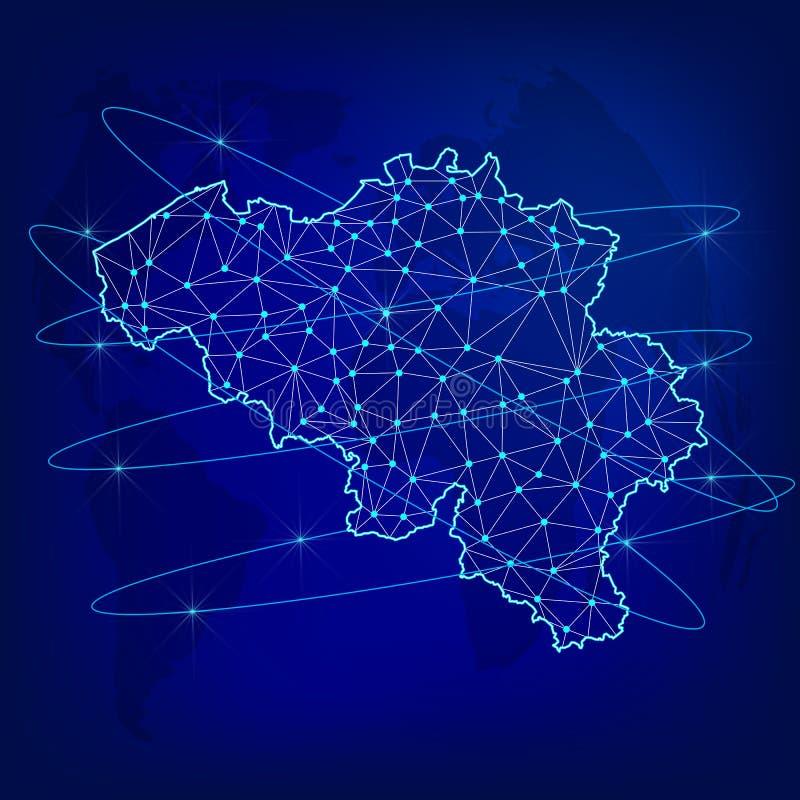Concetto globale della rete di logistica Mappa di rete di comunicazioni Belgio sui precedenti del mondo Mappa del Belgio con i no illustrazione vettoriale