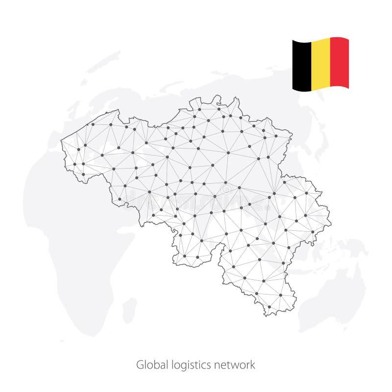 Concetto globale della rete di logistica Mappa di rete di comunicazioni Belgio sui precedenti del mondo Mappa del Belgio con i no royalty illustrazione gratis