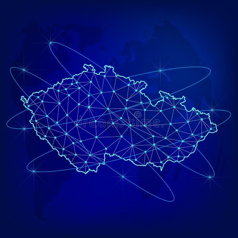 Concetto globale della rete di logistica Mappa di rete di comunicazioni Ceco sui precedenti del mondo Mappa di Ceco con i nodi in illustrazione di stock