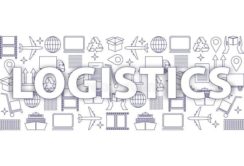 Concetto globale della rete di logistica Modello della linea sottile logistica delle icone in blu royalty illustrazione gratis