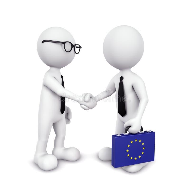 concetto globale di accordo di handshake dell'uomo d'affari 3D illustrazione vettoriale