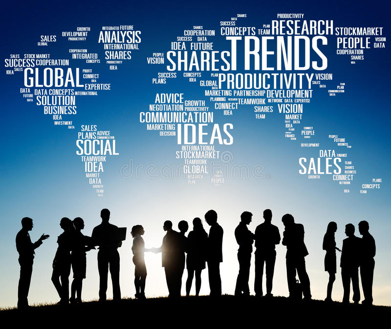 Concetto globale di competenza della soluzione di vendite di idee di tendenze delle parti royalty illustrazione gratis