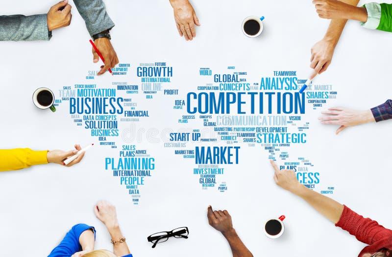 Concetto globale di concorso di sfida del mercato della concorrenza fotografia stock
