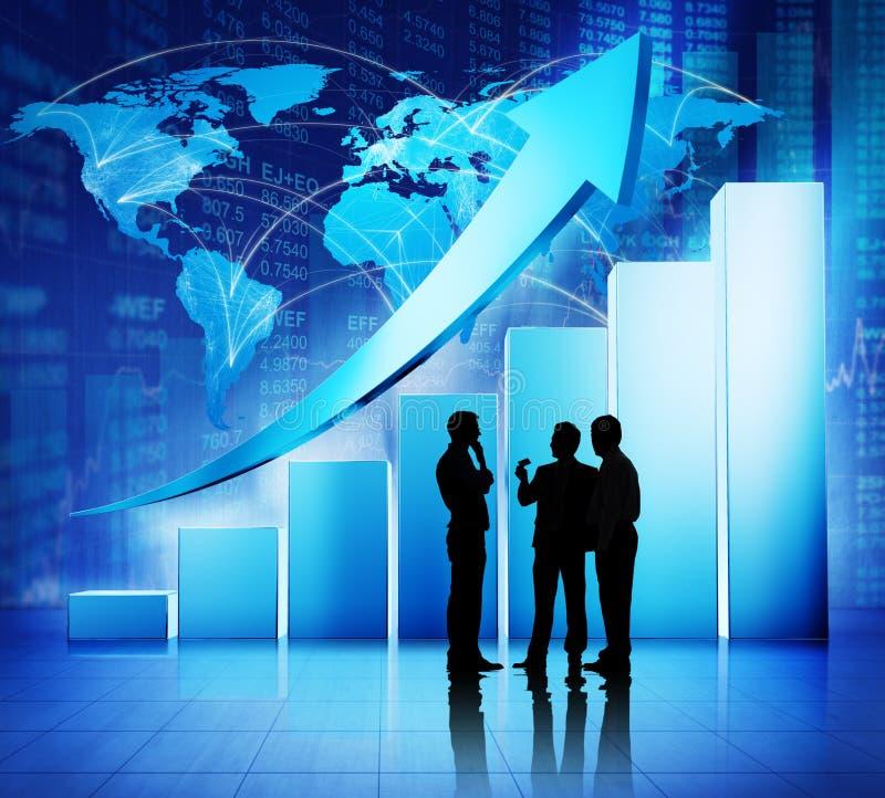 Concetto globale di crescita di dati finanziari di riunione d'affari fotografia stock