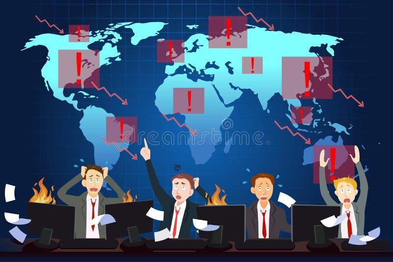 Concetto globale di crisi economica illustrazione vettoriale
