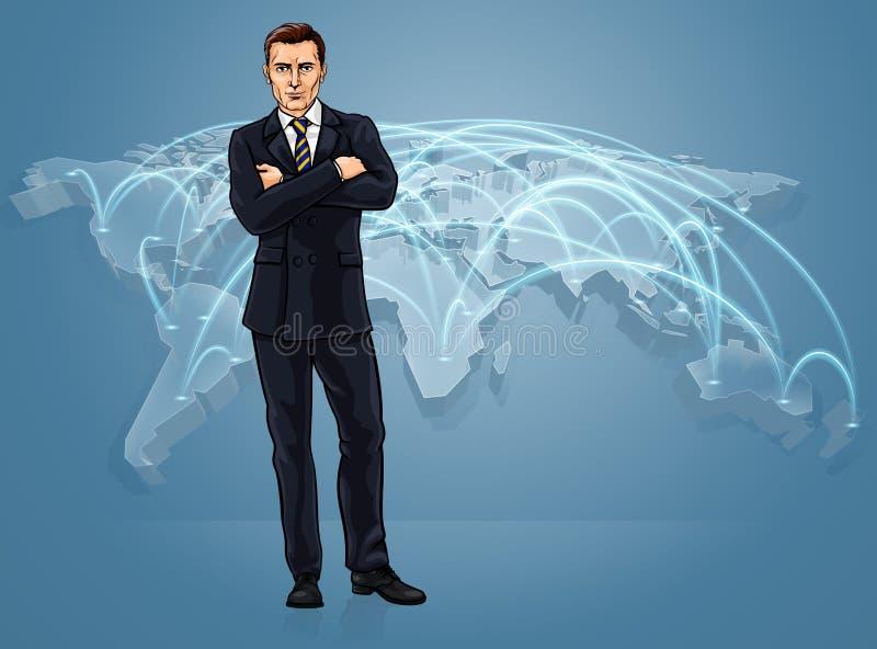 Concetto globale di logistica della mappa di commercio mondiale di mondo degli affari illustrazione di stock