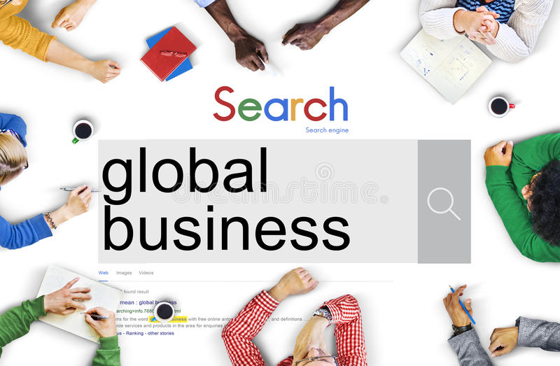 Concetto globale di ottimizzazione del browser del sito Web di ricerca fotografia stock libera da diritti