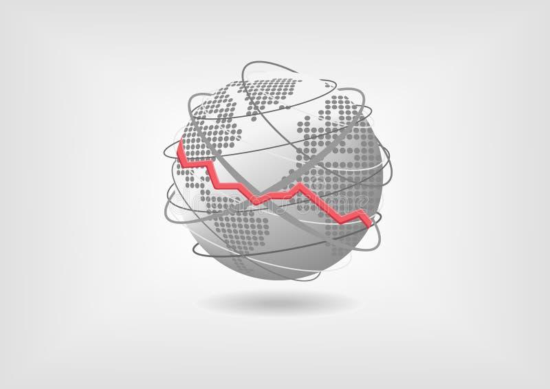 Concetto globale di recessione economica a titolo dimostrativo Economia mondiale diminuente rappresentata dalla mappa di mondo e  illustrazione di stock