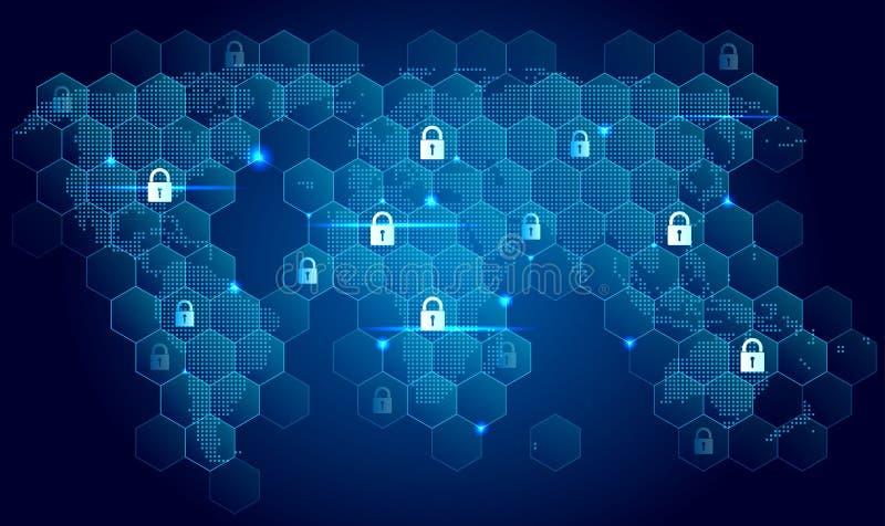 Concetto globale di sicurezza di Internet illustrazione di stock