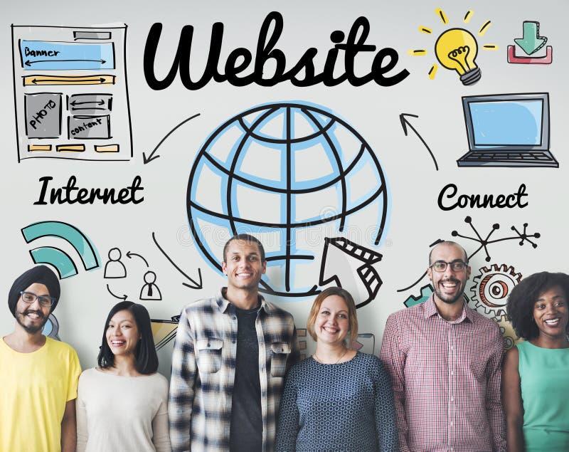 Concetto globale di tecnologia online di WWW del sito Web fotografia stock
