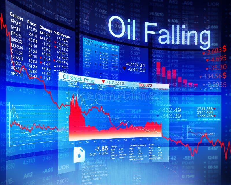 Concetto globale economico di caduta di investimento aziendale dell'olio illustrazione di stock