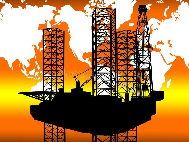 CONCETTO GLOBALE INTERNAZIONALE DELL'INDUSTRIA DEL GAS DEL PETROLIO MARINO illustrazione di stock