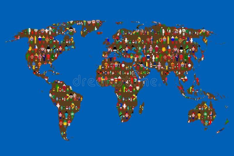 Concetto globalizzante della mappa di mondo con la gente fatta dalle bandiere illustrazione di stock