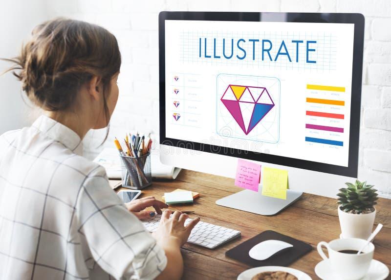 Concetto grafico dell'illustrazione di idee di creatività di stile di progettazione fotografia stock