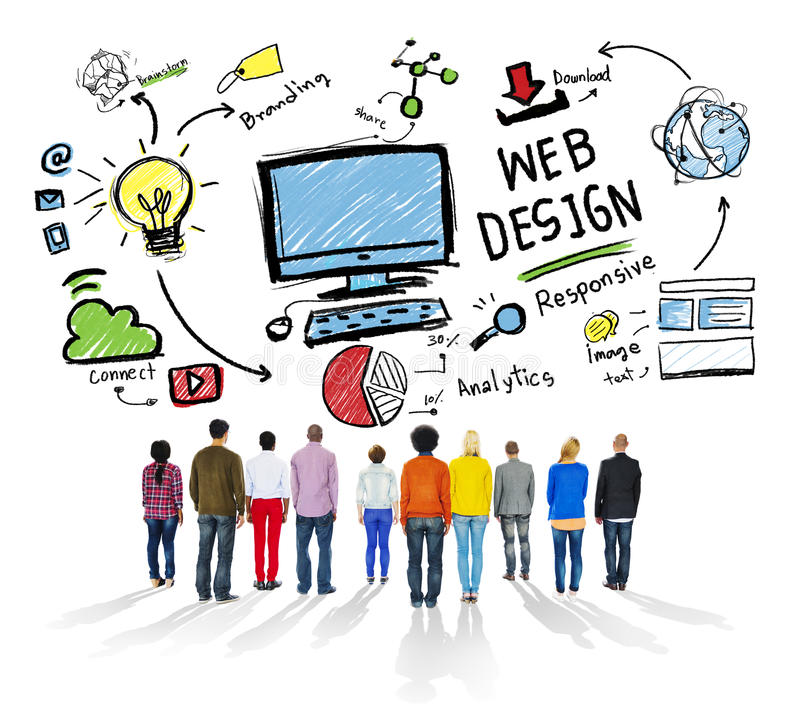 Concetto grafico di Webdesign della disposizione di creatività contenta immagini stock libere da diritti