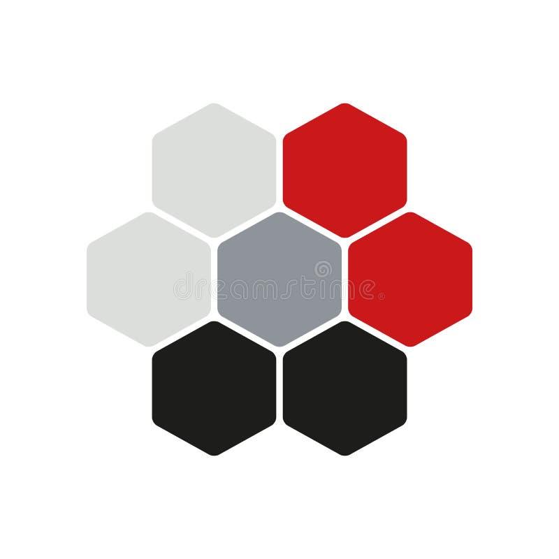 Concetto Hexogen di logo, illustrazione di vettore Stile piano della costruzione di progettazione Modello del segno del favo Te d royalty illustrazione gratis