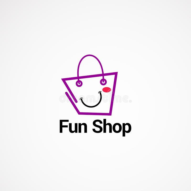 Concetto, icona, elemento e modello di vettore di logo del negozio di divertimento per la società fotografia stock