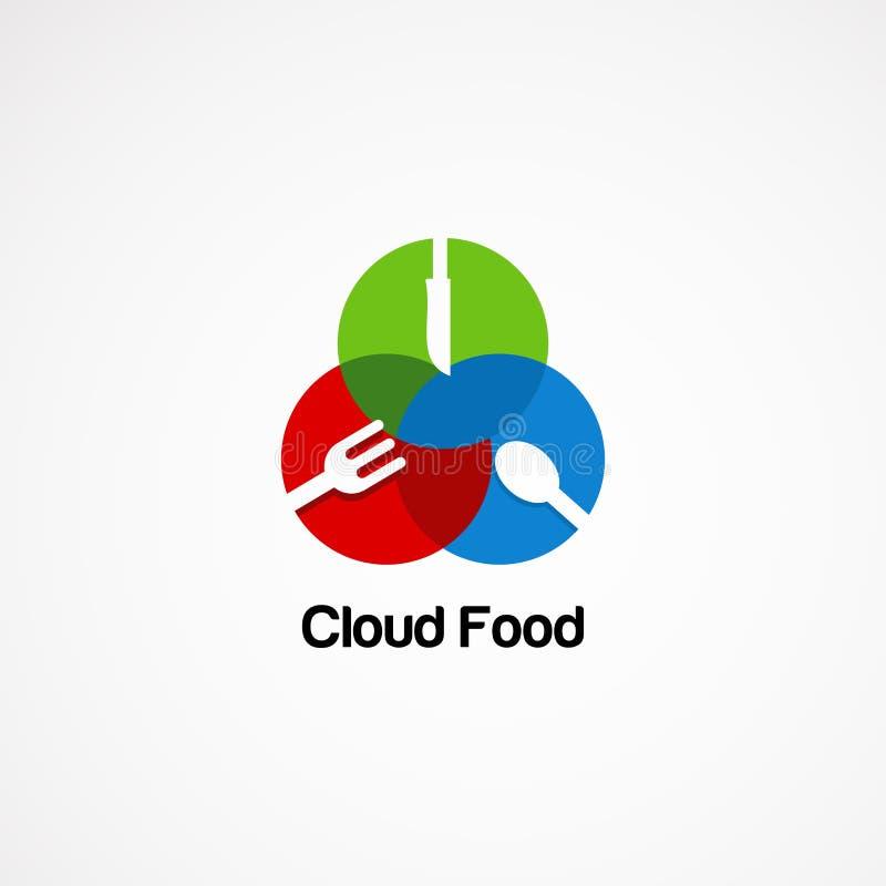 Concetto, icona, elemento e modello di vettore di logo dell'alimento della nuvola del cerchio per la società royalty illustrazione gratis