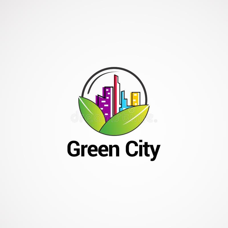 Concetto, icona, elemento e modello verdi di vettore di logo della città per la società immagini stock