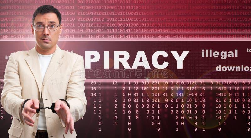 Concetto illegale di download di pirateria fotografia stock libera da diritti