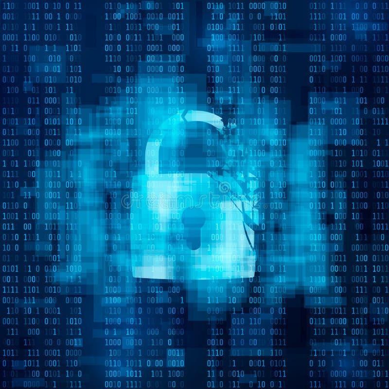 Concetto inciso della parete refrattaria Sistema di sicurezza rotto, cibercrimine illustrazione vettoriale