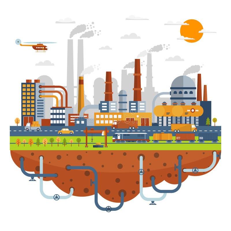 Concetto industriale della città con gli stabilimenti chimici illustrazione di stock