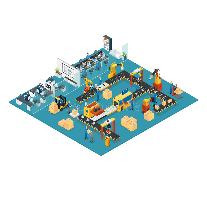 Concetto industriale isometrico della fabbrica illustrazione di stock