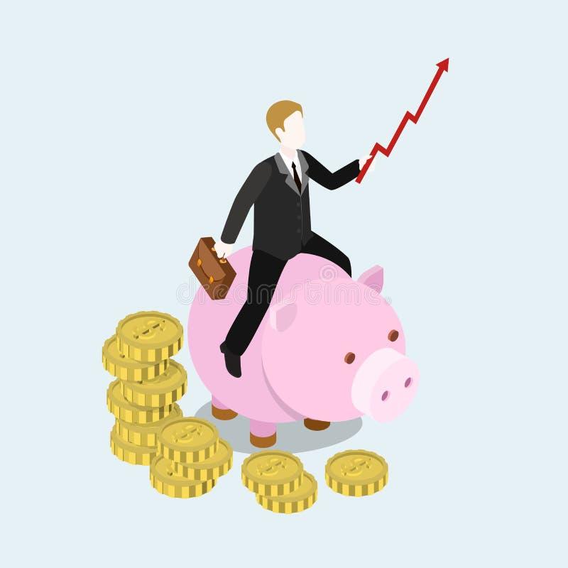 Concetto infographic di web 3d dell'uomo d'affari isometrico piano dell'investitore illustrazione vettoriale