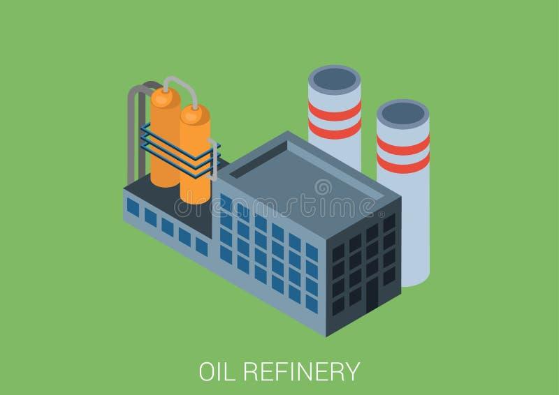 Concetto infographic isometrico di web piano 3d della pianta della raffineria di petrolio illustrazione di stock