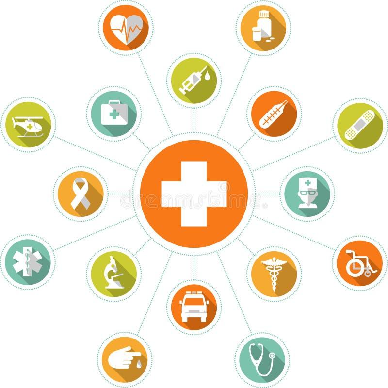 Concetto infographic medico con l'incrocio e le icone illustrazione di stock