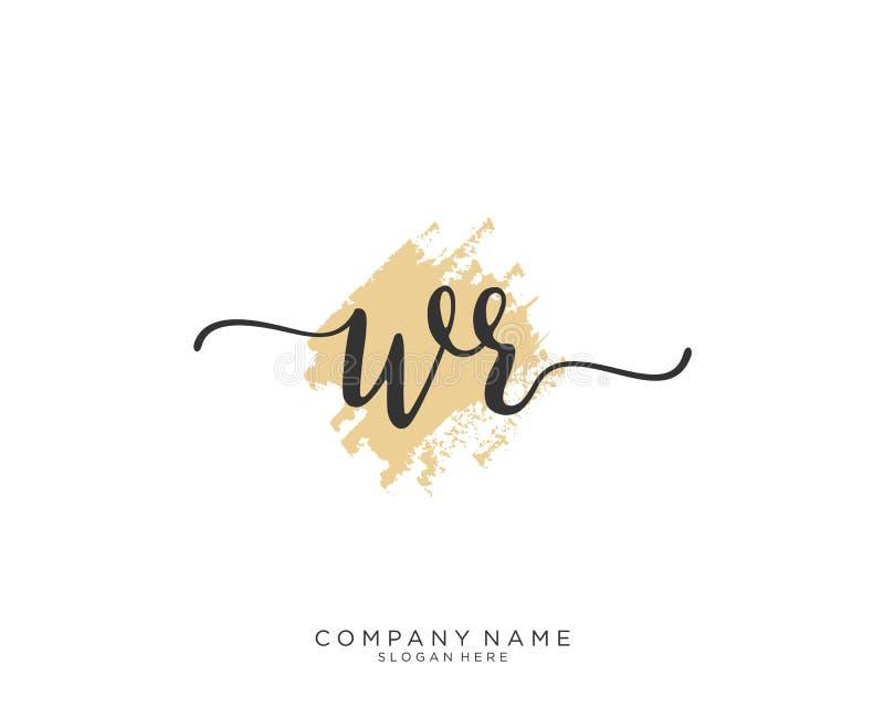 Concetto iniziale di logo della scrittura di WR illustrazione di stock