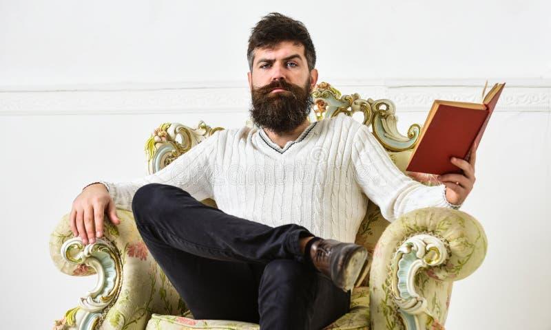 Concetto intelligente Lo scienziato, professore sul fronte pensieroso gode della letteratura Il conferenziere astuto si siede sul fotografia stock libera da diritti