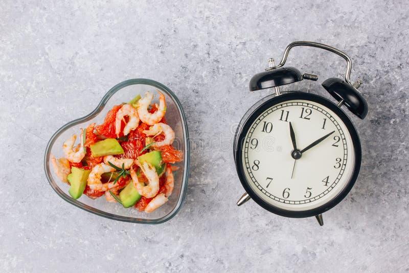 Concetto intermittente di fastin - conto alla rovescia da mangiare Dieta Alimento sano fotografia stock