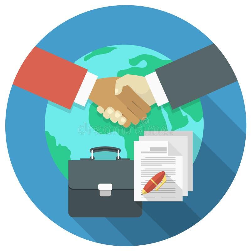 Concetto internazionale di cooperazione di affari illustrazione di stock