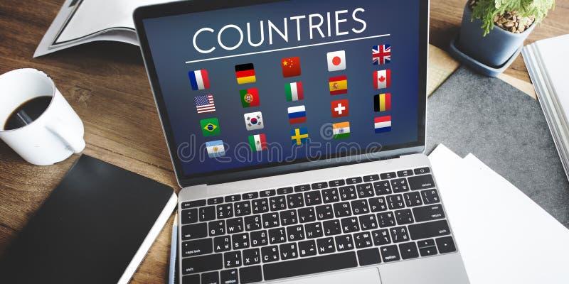 Concetto internazionale straniero di simbolo dei paesi della bandiera illustrazione di stock