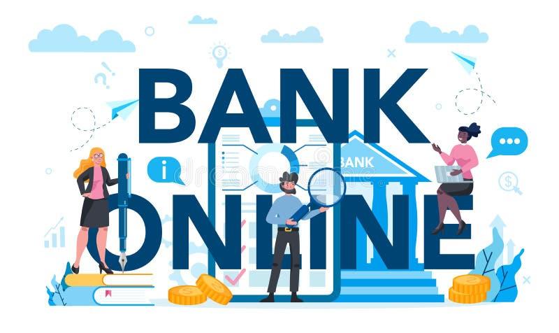 Concetto intestazione tipografica online banking Rendimento finanziario royalty illustrazione gratis