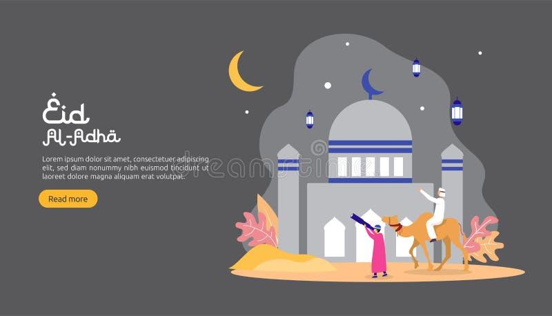 concetto islamico dell'illustrazione di progettazione per il adha felice di Al del eid o evento di celebrazione di sacrificio con royalty illustrazione gratis