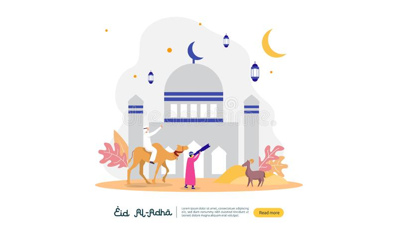concetto islamico dell'illustrazione di progettazione per il adha felice di Al del eid o evento di celebrazione di sacrificio con illustrazione di stock