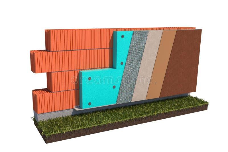Concetto isolato dell'isolamento termico del plinto del muro di mattoni sull'illustrazione bianca del fondo 3d illustrazione di stock