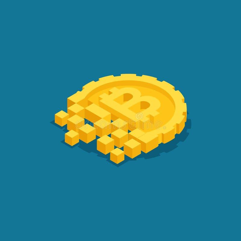 Concetto isometrico con il concetto del blockchain di ico, bitcoin, cryptocurrency infographic sull'argomento Bitcoin, estrazione royalty illustrazione gratis
