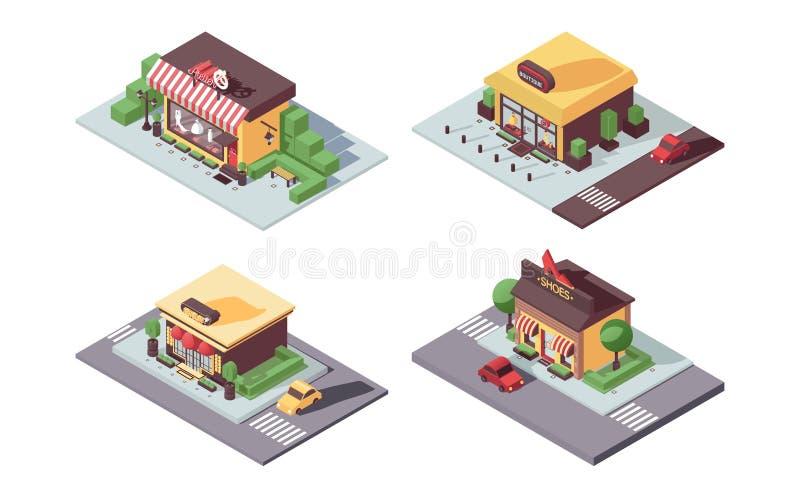 Concetto isometrico dei negozi di piccola impresa L'atelier, donne si veste e boutique delle scarpe, gioielli in 3d, con le ombre illustrazione vettoriale